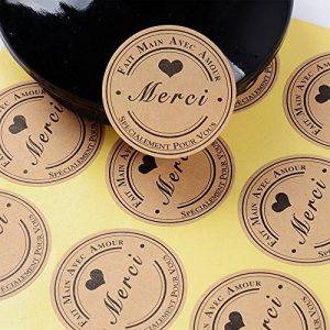 SERWOO (300pcs) 25 Feuilles de Rond Merci Autocollants avec Coeur -Fait Main avec Amour & Spécialement pour Vous Stickers Etiquettes pour Mariage Cadeau ou Enveloppe(Dia : env.3,8cm) de la marque SERWOO image 0 produit