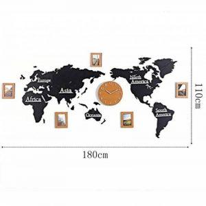 """SHANGXIAN Carte du Monde Horloges Murales en Bois Créatif DIY Art personnalisé Décoration d'intérieur Cadre Photo Stickers muraux Pendule murales,180cm/70.8"""" Models de la marque SHANGXIAN image 0 produit"""
