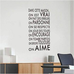 Shuyinju Langue Française Texte Inspirant Famille Mots Citation Sticker Mural Vinyle Famille Sticker Mural Autocollant Art Décoration de la marque shuyinju image 0 produit