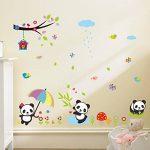 Skyllc® Beaux oiseaux Panda fleurs et Bamboo Stickers muraux amovibles mur Vinly Décor Decal pour la Chambre des filles et des garçons Chambre de bébé Enfants de la marque Skyllc image 1 produit