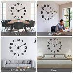 SOLEDI horloge murale muette Pendule Murale de mode moderne horloge murale sans cadre 3D miroir autocollant bureau hôtel décoration de la maison DIY horloge murale (couleur argent et noir) de la marque Soledì image 3 produit