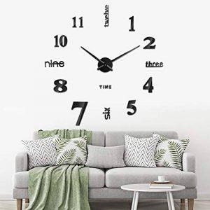 SOLEDI horloge murale muette Pendule Murale de mode moderne horloge murale sans cadre 3D miroir autocollant bureau hôtel décoration de la maison DIY horloge murale (couleur argent et noir) de la marque Soledì image 0 produit