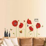 Soxid (TM) Rouge vif Maïs Coquelicot Superbe Décor DIY Fleur Stickers muraux papier peint Art mural Stickers muraux pour décoration de la maison de la marque Soxid image 2 produit
