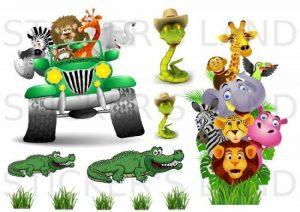 STICKER'S LAND Stickers décoratifs Animaux de la Jungle Autocollant Feuille 21x 28cm en Papier adhesif Transparent de la marque STICKER'S LAND image 0 produit