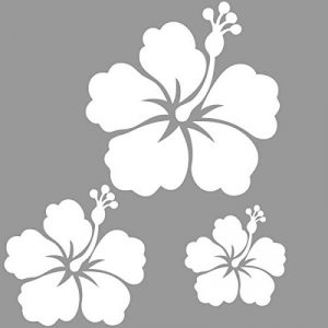 Sticker autocollant 3 fleurs d'hibiscus pour votre auto, votre frigo, vos murs… . couleur blanc de la marque Toptshirt image 0 produit