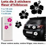 Sticker autocollant 3 fleurs d'hibiscus pour votre auto, votre frigo, vos murs… . couleur blanc de la marque Toptshirt image 1 produit