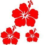 Sticker autocollant 3 fleurs d'hibiscus pour votre auto, votre frigo, vos murs… . couleur blanc de la marque Toptshirt image 2 produit
