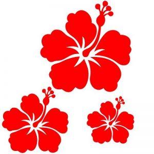 Sticker autocollant 3 fleurs d'hibiscus pour votre auto, votre frigo, vos murs… . couleur rouge de la marque Toptshirt image 0 produit