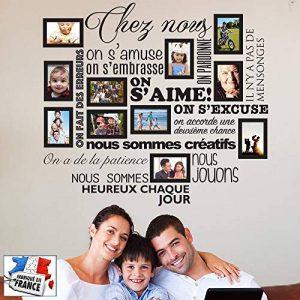Sticker Chez Nous On S'aime ... en photos - 11 cadres photos pour photos de 10x15 cm- Taille du sticker 100x90 cm - Noir - marque Beestick de la marque Beestick image 0 produit