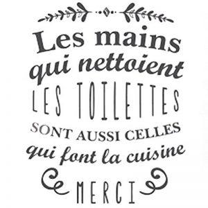Sticker Citation Les Mains qui Nettoient les Toilettes 70 x 20cm de la marque Sud-Trading image 0 produit