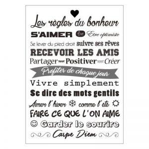 Sticker Citations - Adhésif Permanent Mural - Les Règles du Bonheur (Gris, Noir, Blanc) - 297 x 420 mm de la marque Adzif-biz-Le-sticker-de-decoration image 0 produit