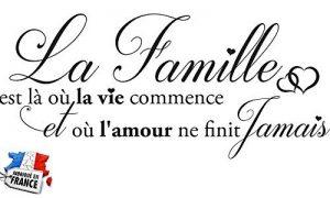 Sticker La Famille C'est là où la Vie Commence. Taille 60x25 cm - Marque Beestick (Noir) - Fabrication France. de la marque Beestick image 0 produit