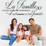 Sticker La Famille C'est là où la Vie Commence. Taille 60x25 cm - Marque Beestick (Noir) - Fabrication France. de la marque Beestick image 1 produit