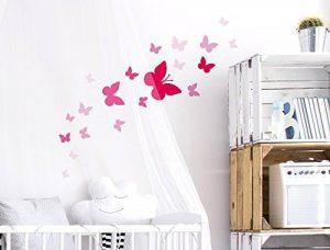 Sticker mural A Papillons Roses pour fille coller de la marque I-love-Wandtattoo image 0 produit