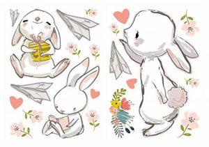 Sticker mural aquarelle chambre d'enfant déco Ensemble lapin fleurs de la marque dekodino image 0 produit