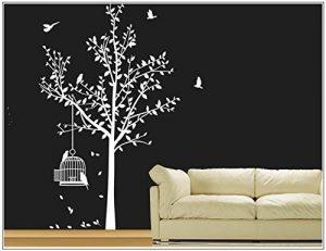 sticker mural arbre oiseau branches vrille salle de séjour 40 couleurs pour le choixVogelbauer wbm35(010 blanc, set4:arbre 110cm x180cm (H) ) de la marque Deco-idea image 0 produit