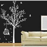 sticker mural arbre oiseau branches vrille salle de séjour 40 couleurs pour le choixVogelbauer wbm35(071 gris, set4:arbre 110cm x180cm (H) ) de la marque Deco-idea image 2 produit