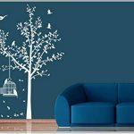 sticker mural arbre oiseau branches vrille salle de séjour 40 couleurs pour le choixVogelbauer wbm35(071 gris, set4:arbre 110cm x180cm (H) ) de la marque Deco-idea image 3 produit