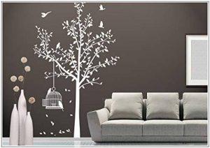 sticker mural arbre oiseau branches vrille salle de séjour 40 couleurs pour le choixVogelbauer wbm35(071 gris, set4:arbre 110cm x180cm (H) ) de la marque Deco-idea image 0 produit