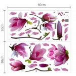 Sticker Mural Art Immense Magnolia Fleurs Amovible Repositionable Salon Luxe de la marque Home-Decor image 3 produit
