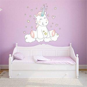Sticker Mural Autocollant Mural autocollant Mur Tatouage Chambre d'enfants Chambre à coucher Licorne Licorne cutie avec 6 Étoiles de lumière - 80cm x 63cm de la marque Mein-Zwergenland image 0 produit