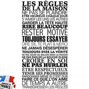 Sticker Mural Beestick - Les Règles de La Maison 61x120 cm (Noir) - Pose Facile - Stickers Muraux Citations - Fabrication France de la marque Beestick image 0 produit