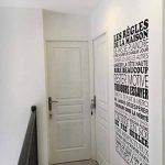 Sticker Mural Beestick - Les Règles de La Maison 61x120 cm (Noir) - Pose Facile - Stickers Muraux Citations - Fabrication France de la marque Beestick image 4 produit