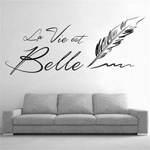 """Sticker Mural Citation Lettres""""La Vie Est Belle"""" Stickers Muraux Creative Phrase Française Belle Vie Sticker Mural Pour Salon Décoration de la marque hxqq image 0 produit"""