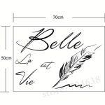 """Sticker Mural Citation Lettres""""La Vie Est Belle"""" Stickers Muraux Creative Phrase Française Belle Vie Sticker Mural Pour Salon Décoration de la marque hxqq image 1 produit"""