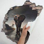 Sticker mural effet 3D « éléphant » autocollant – Sticker mural autocollant – Sticker mural autocollant – Pierre – Sticker mural – Tatouage, 60x50 cm de la marque Cuadros Lifestyle image 2 produit