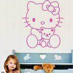 Sticker Mural Hello Kitty avec Teddy - 40 x 55cm - Rose de la marque Ambiance image 1 produit