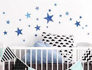 Sticker mural kit Aquarelle étoiles dans bleu coller de la marque I-love-Wandtattoo image 0 produit