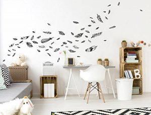 Sticker Mural kit Chambre Plumes en Noir et Blanc de Coller de la marque dekodino image 0 produit