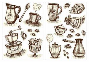 Sticker Mural kit Cuisine Sticker Mural Café Tasses de Café et Couverts Coller de la marque dekodino image 0 produit