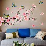 Sticker mural mural Pêche Fleurs avec oiseaux Sticker mural Branche de fleurs de cerisier sakura Arbre plantes Forêt mural autocollant décoration pour salon, chambre, Porte-manteau, cuisine, couloir de la marque WandSticker4U image 3 produit