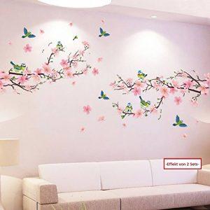 Sticker mural mural Pêche Fleurs avec oiseaux Sticker mural Branche de fleurs de cerisier sakura Arbre plantes Forêt mural autocollant décoration pour salon, chambre, Porte-manteau, cuisine, couloir de la marque WandSticker4U image 0 produit