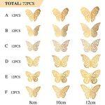 Sticker Mural Papillon 3D Sticker Mural Volant Décor Décorations d'Art dans 6 Styles Différents pour Chambre Accueil Garderie Salle de Cours Bureaux Décor, Or 72 Pièces de la marque Bememo image 1 produit