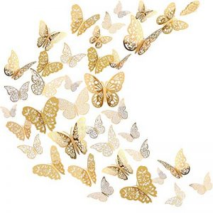 Sticker Mural Papillon 3D Sticker Mural Volant Décor Décorations d'Art dans 6 Styles Différents pour Chambre Accueil Garderie Salle de Cours Bureaux Décor, Or 72 Pièces de la marque Bememo image 0 produit