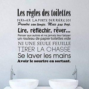 Sticker Mural Salle De Bain Français Règles De Toilette Vinyle Stickers Muraux Mur Art Mural Papier Peint Décor À La Maison de la marque LEELIYA image 0 produit