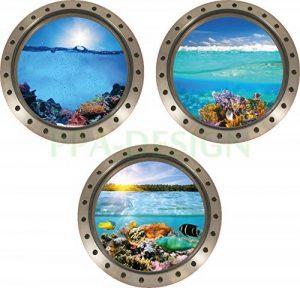 Sticker Mural Trompe l'oeil Hublot Coraux Poissons Vue sous Marine- Pack de 3 Hublots - Packhu006 (20x20cm) de la marque PPA-DESIGN image 0 produit