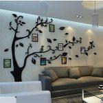 Sticker Muraux Acrylique 3D Arbre Autocollants, Amovibles DIY Cadre de Photo Stickers Mural Arts Décorations pour Garderie, Chambre, Salon, Chambre Enfants (L: 175 * 230CM, Noir Droite) de la marque Guangmu image 3 produit