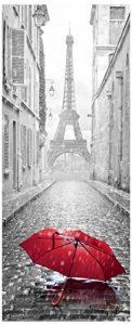 Sticker Porte - Parapluie dans une rue de Paris - 204 x 83cm de la marque Ambiance-Live image 0 produit