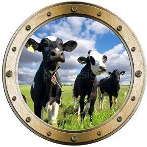 Sticker Trompe l'oeil Hublot Vaches dans le Pré - W1116 (30x30cm) de la marque PPA-DESIGN image 0 produit