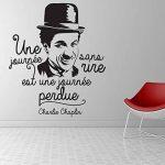 Sticker Une journée sans rire - Charlie Chaplin - Stickers muraux Marque Beestick - Taille 51x60 cm (noir) de la marque Beestick image 1 produit