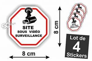 """Sticker Vidéo-Surveillance """" Site """" Autocollant ( Lot de 4 Stickers ) de la marque SC image 0 produit"""