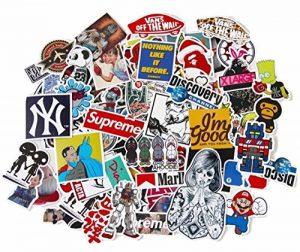 StickerFactory Lot de 150 autocollants tendances en vinyle Différents styles aléatoires Pour ordinateur portable, MacBook, voiture, vélo, skateboard, snowboard, bagage, valise, meubles Effet vintage de la marque StickerFactory image 0 produit