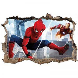 Stickers 3D Spiderman et Ironman Réf 52464-90x60cm de la marque Stickers-Enfant image 0 produit