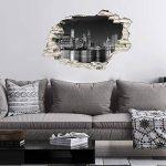 Stickers adhésifs Effet 3D | Sticker Autocollant New York Skyline - Décoration Murale Trompe L'œil Chambre et Salon - 60 x 90 cm de la marque Ambiance Sticker image 2 produit