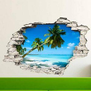 Stickers adhésifs Effet 3D | Sticker Autocollant Palmiers sur Plage de Sable BLAN - Décoration Murale Trompe L'œil Chambre et Salon - 60 x 90 cm de la marque Ambiance Sticker image 0 produit