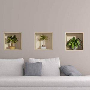 Stickers adhésifs Effet 3D | Sticker Autocollant Petits Palmiers - Décoration Murale Trompe l'oeil Chambre et Salon | 30 x 90 cm de la marque Ambiance Sticker image 0 produit